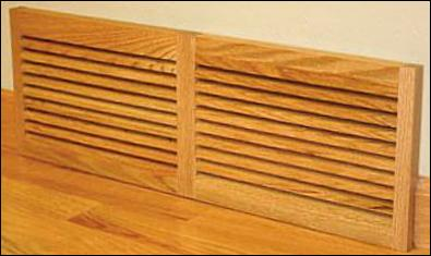 Oak Baseboard Slotted Return Air Vent