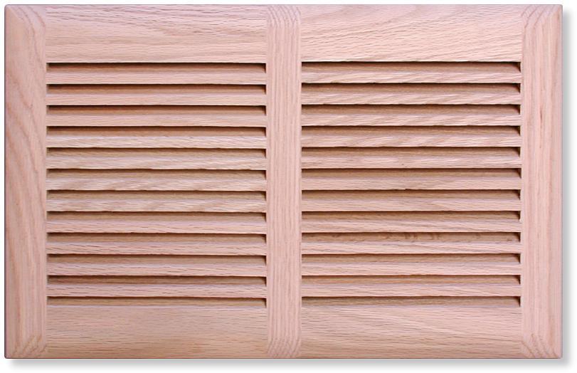 Custom Size Return Air Grille : Rickenbacker custom wood louvered oak air vent cover